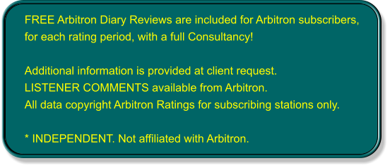 FREE Arbitron Diary Reviews are included for Arbitron subscribers, for each rating period, with a full Consultancy!  Additional information is provided at client request. LISTENER COMMENTS available from Arbitron. All data copyright Arbitron Ratings for subscribing stations only.  * INDEPENDENT. Not affiliated with Arbitron.